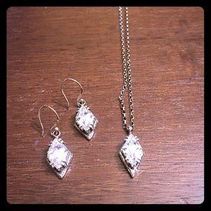 Silpada Isreal Art Marquis CZ Necklace & Earrings